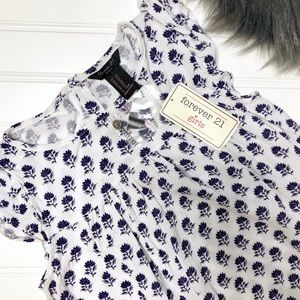 Girls White Navy Floral Top FOREVER 21